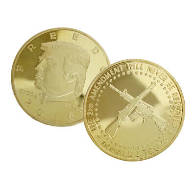 2018 US President Donald Trump Commemorative Coin Double Gun Gold Plated NEW