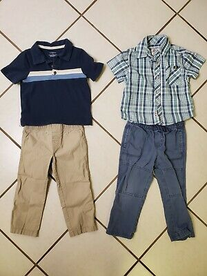 Set of two toddler boy outfits 3t lucky brand carters pants collared shirts GUC