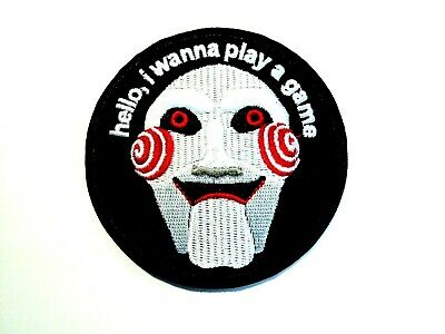 1x Billy Saw Horror Film Patches Embroidered Cloth Applique Badge Iron Sew On