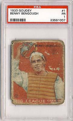 BENNY BENGOUGH 1933 Goudey Gum #1 Graded PSA 1 ST. LOUIS BROWNS Vintage Prewar