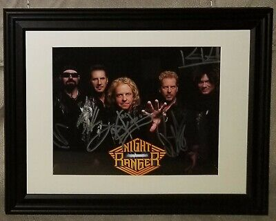 NIGHT RANGER Group Autographed 8x10 Matted & Framed Photo! 100% Authentic! ROCK