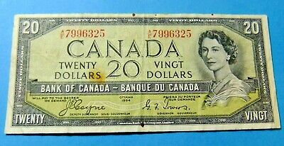 1954 Bank of Canada 20 Dollar DEVILS FACE Bank Note - VF