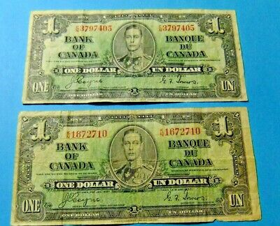 2x 1937 Bank of Canada 1 Dollar Notes
