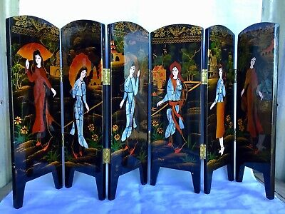BEAUTIFUL Oriental LACQUER WOOD Decorative FOLDING SCREEN Black MOTHER-OF-PEARL