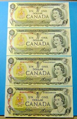 4 Consecutive 1973 Bank of Canada 1 Dollar Notes - UNC
