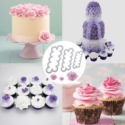 3D Rose Petal Flower Cake Cutter Fondant Icing Tool Decorating Mould Sugarcraft