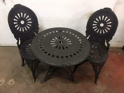 F24009 Garden Outdoor Black Cast Metal Table and Chairs Set
