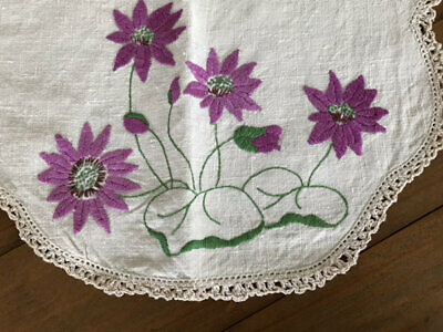 Vintage Embroidered Water Lily? Doily.