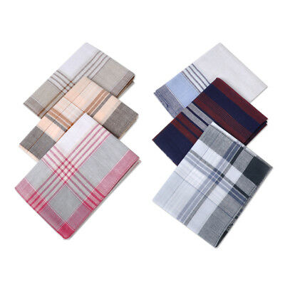 6pcs Classic Square Handkerchiefs Pattern Plain Vintage Pocket Hanky 100% Cotton