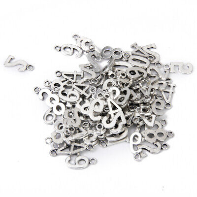 100x Alloy Number Pendant Charm DIY Necklace Bracelet Jewelry Findings Craft