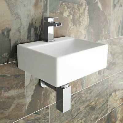 Square Compact Small Ceramic Bathroom Basin Sink & Chrome Tap & Pop Up Waste Kit