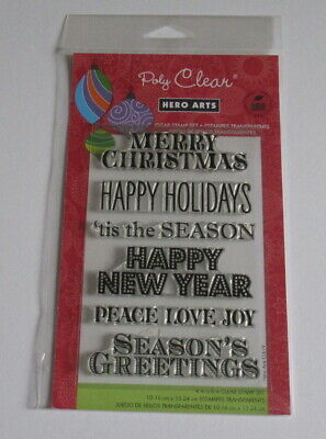 Hero Arts Poly Clear Christmas Stamp Set - Greetings for the Holidays - New.