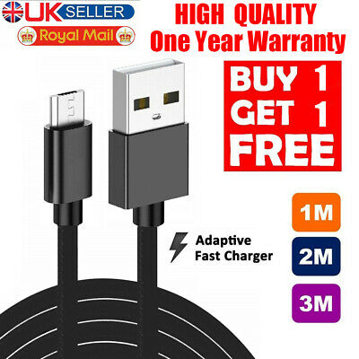 Long Micro USB Cable, 1M 2M 3M High Speed Data Sync Fast Charger Charging Lead