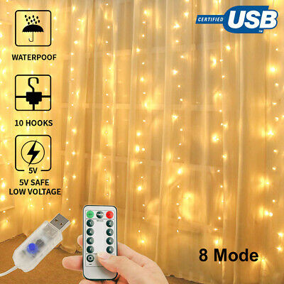 8 Modes Fairy Curtain String Light Hanging Backdrop Wall Lights Wedding Party AU