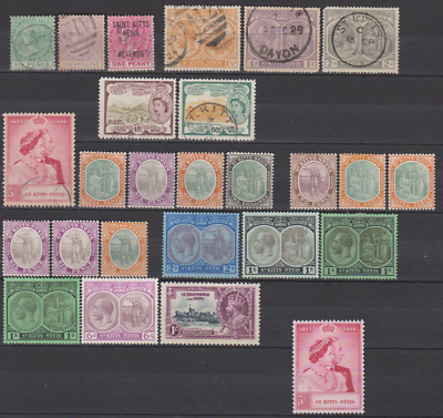 St Kitts & Nevis 1870's/1950's Collection Mint Mounted & Used to 5/-
