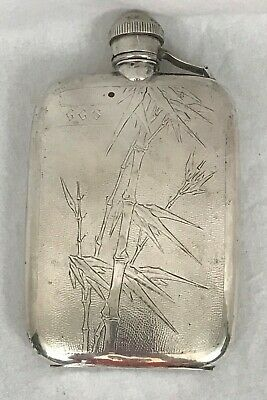 Chinese Export Silver Flask. Bamboo Motif. Signed with Character. Circa 1900