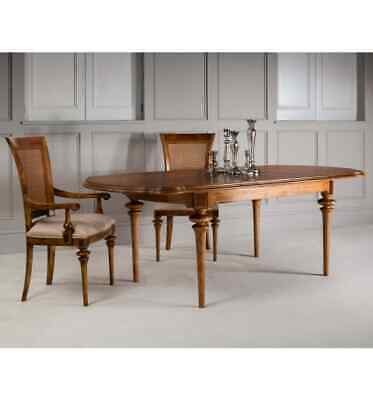 Manhattan French Finest Ash & Walnut Wood Oval Extending Dining Table