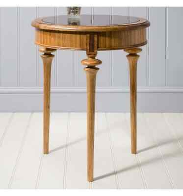 Manhattan French Finest Ash & Walnut Wood Circular Side Table / End Table Wit...