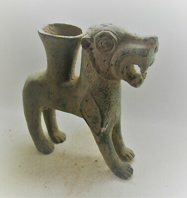 Scarce Circa 1000Bc Ancient Persian Bronze Beast Rhyton Vessel Beautiful Item