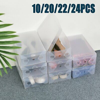 Ladies Stackable Foldable Plastic Clear Shoe Box Boxes Home Storage Organiser
