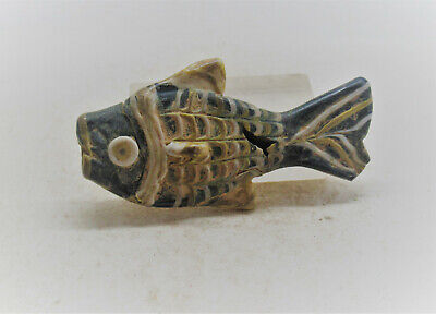 Finest Circa 1500-1000Bc Ancient Phoenician Mosiac Fish Bead