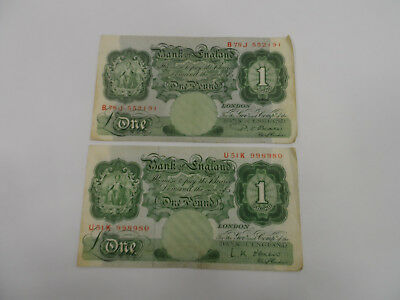 English Banknotes BEALE cashier 2 x £1 One Pound Bank Notes