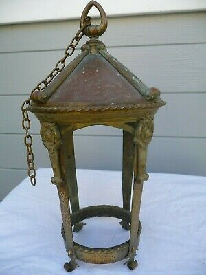 Antique French Copper/Brass Open Porch/Hall Lantern+Chain Nice Detail Project