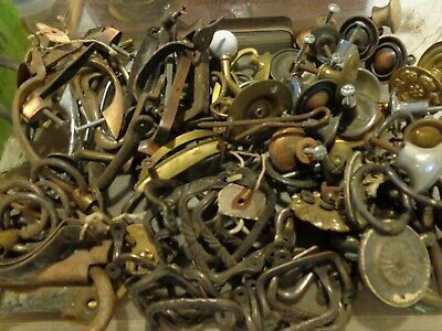 Large Mixed Lot of 90+pcs Vtg Antique Brass Metal Drawer Pulls Hardware Handles