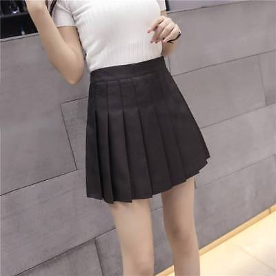 Women Elastic Japanese College School Uniform Short Sailor Solid Pleated Skirts
