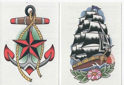 Two Nautical Temporary Tattoos Anchor  & Ship Vintage Traditional Tatoos