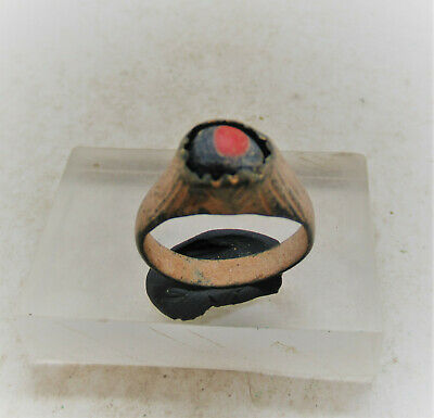 Ancient Phoenician Bronze Ring With Evil Eye Mosiac Glass Insert