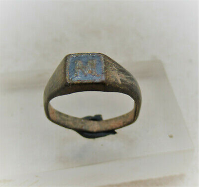 Detector Finds Ancient Bronze Ring With Enamelled 'M' In Bezel