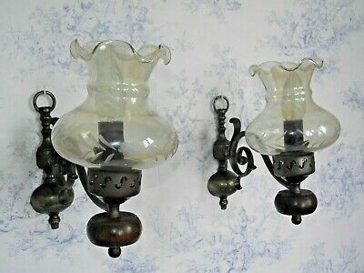Pair French Country Wood & Bronzed Effect Metal Wall Sconces Glass Shades 1325