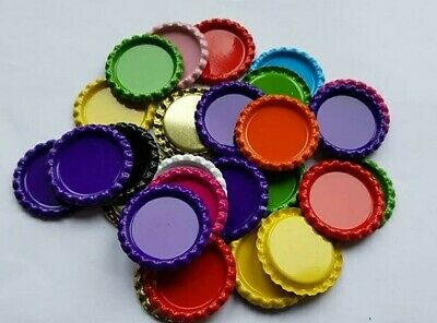 Metal bottle caps 25mm inner x8 expoxy circles for bows or craft pink silver