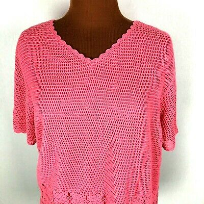 c22a7fbfd5 Croft & Barrow Womens Top XL Pink Crochet Short Sleeves V Neck Lined Cotton