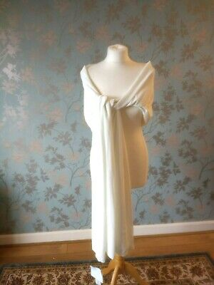 Berketex Ivory Chiffon One Size Bridal Shawl Stole Cover Up Wrap Beaded Wedding