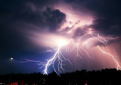 Cool Lightening Bolt Poster Size A4 / A3 Storm Thunder Weather Poster Gift #8699