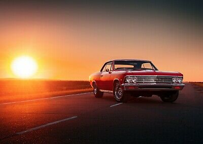 Cool Classic American Car Poster Size A4 / A3 Vehicle Travel Poster Gift #8733