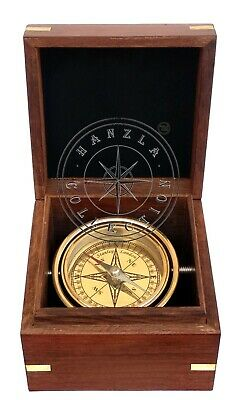 Brass Ships Gimbled Maritime Nautical Boat Compass In Anchor Inlaid Wooden Box