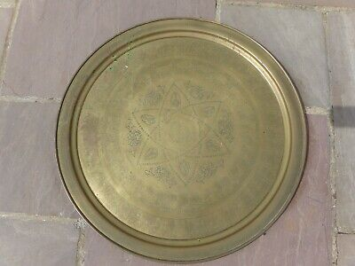 Antique Large Engraved Egyptian Hieroglyphs Brass Tea Serving Tray Platter