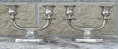 Coppia Candelabri Argento 800 Solid Silver Art Deco Style 2 Lights Candelabras