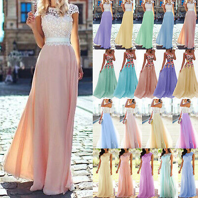 Women's Lace Chiffon Bridesmaid Wedding Prom Ball Gown Formal Evening Maxi Dress