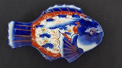 Antique Japanese Porcelain Imari,Plate in the shape of sea bream,Painted by hand