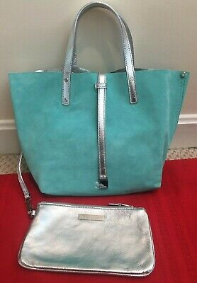 8c2d22e8e3 TIFFANY Co Reversible Leather Silver × Tiffany Blue Bag with Handbag Pouch