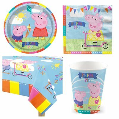 Peppa Pig Party Pack for 8 Guests - Plates, Napkins, Cups & Tablecover