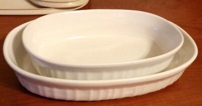 Corning Ware French White Oval Stoneware Casserole Dish With Lids Set Of 2