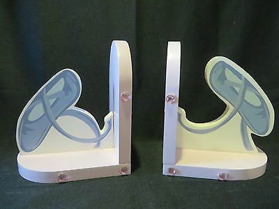 Ballerina Wooden Bookends - Pink And Blue Painted - A Dancer's Delight!