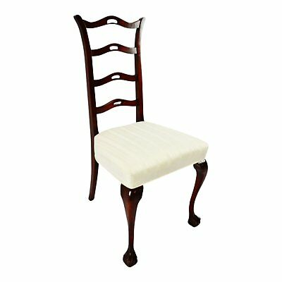 Vintage Chippendale Style Ball & Claw Feet Upholstered Side Chair