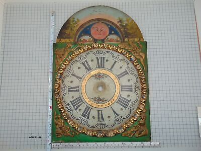 Antique Hand Painted Dial For Friesian Tail Clock With Date And Moon