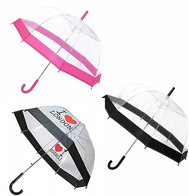 Dome Umbrella Clear See Through Transparent Walking Rain Brolly Large